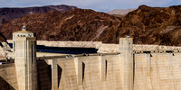 The Hoover Dam with the high water mark visible. The water has been in retreat since 1987 when it peaked.